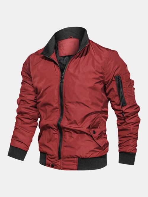 Mens Solid Color Zipper Side Pocket Windproof Bomber Jacket