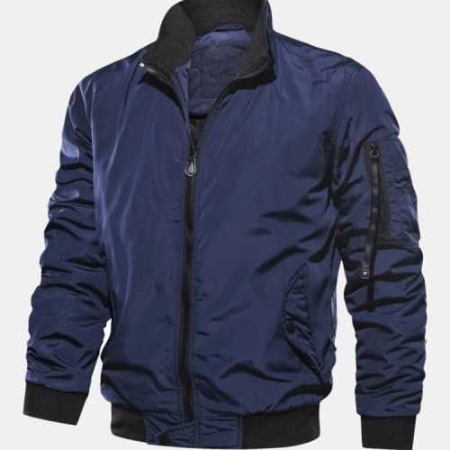 Mens Solid Color Zipper Side Pocket Windproof Bomber Jacket