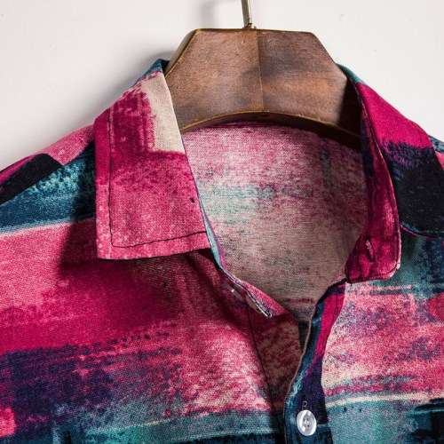 Mens Summer Colorful Plaid Printed Casual Shirts
