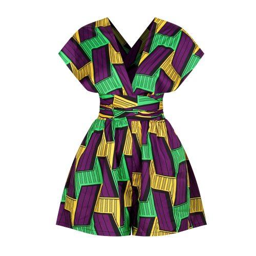 Women African Clothing Dashiki Retro Print Jumpsuit Shorts