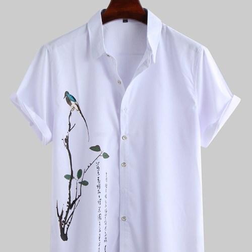 Men Oriental Art Print Short Sleeve Relaxed Shirts