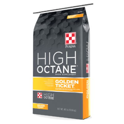 Purina High Octane Golden Ticket Supplement. Grey and gold feed bag.