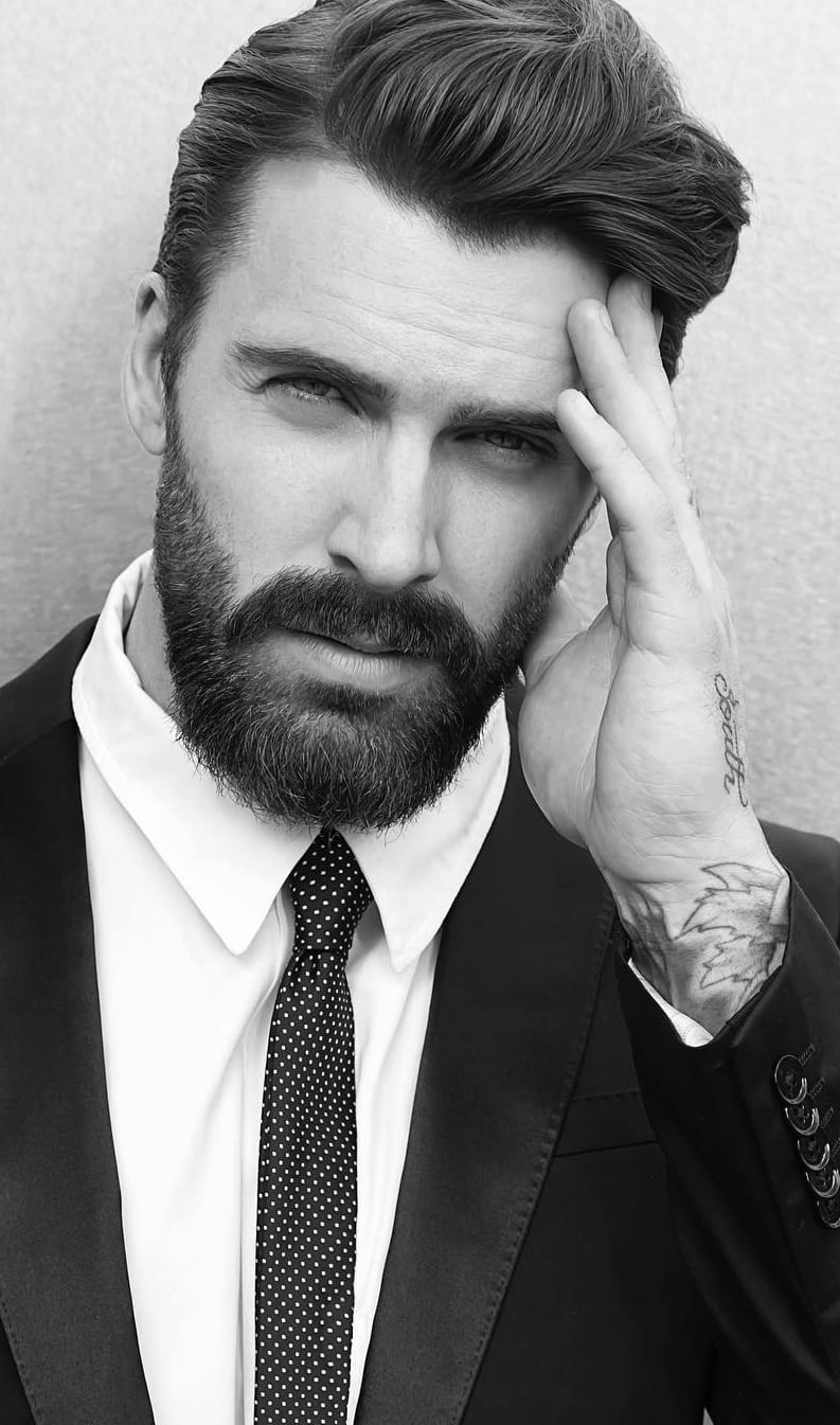 Beard Men Should Try With Combed Back Hairstyle
