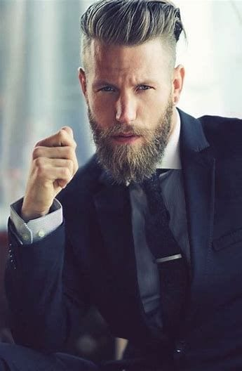 Ducktail Curly Beard look for men