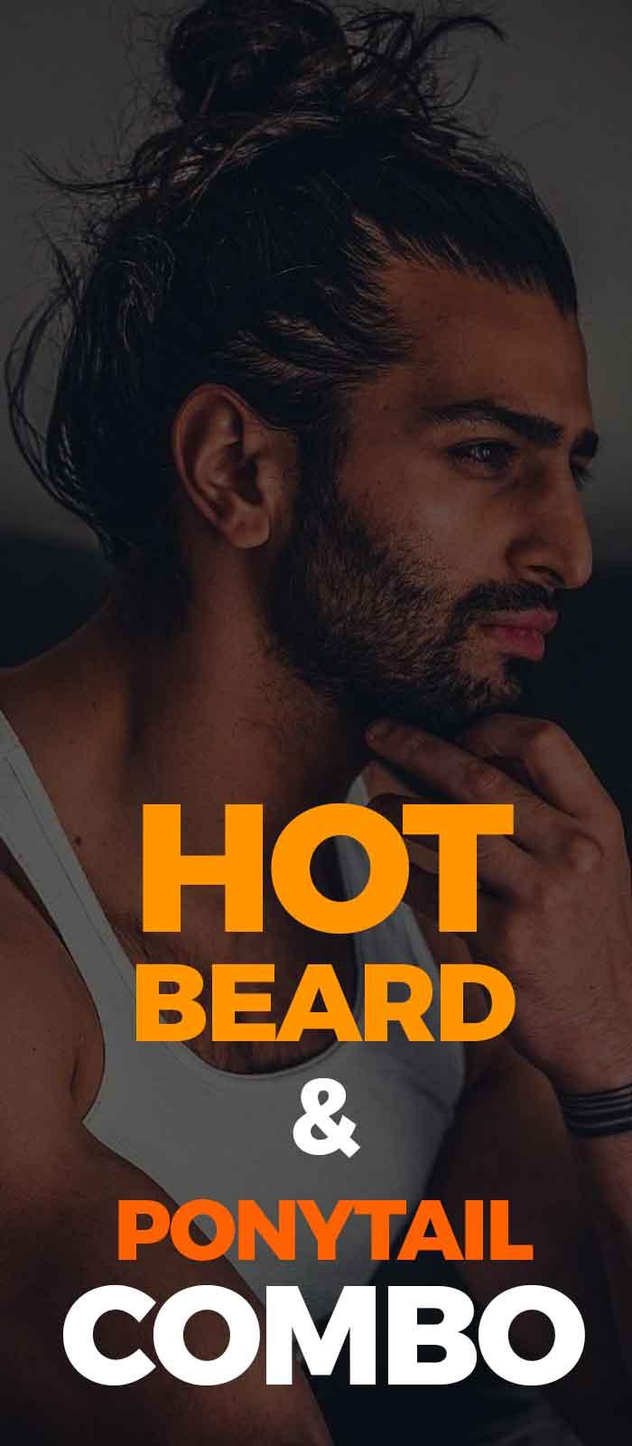 Full Man Bun Ponytail with sexy beard for men!