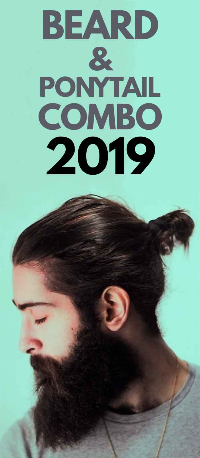 Long Beard with Short ponytail look for men!