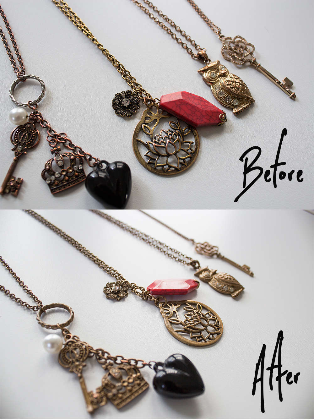 How to Fix Faux Gold Jewelry Before After 3