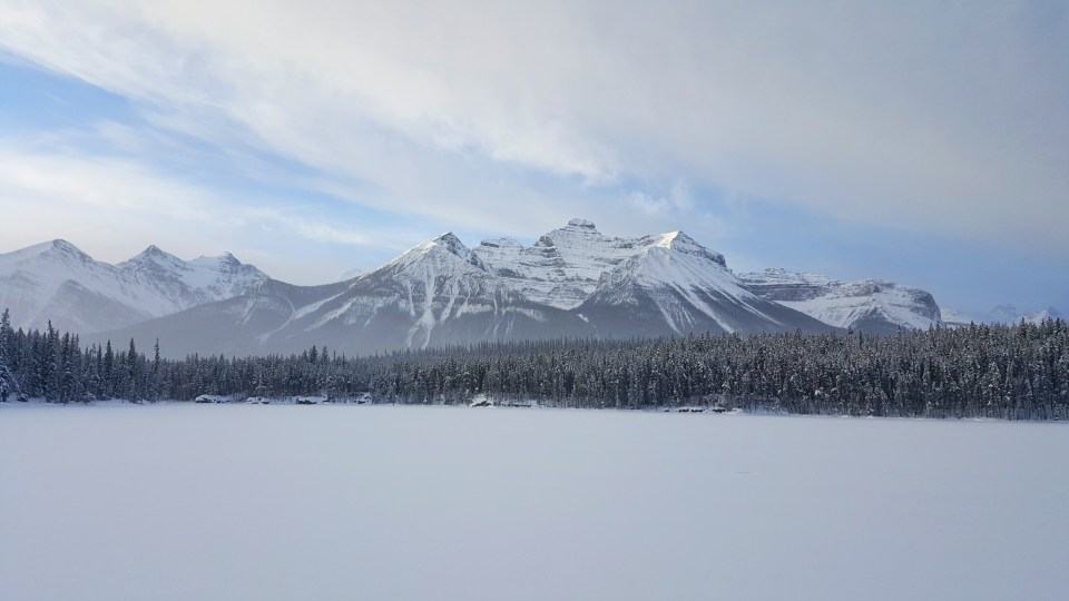 Emerald Lake, Bow Lake Frozen Over, Banff National Park, Alberta Canada