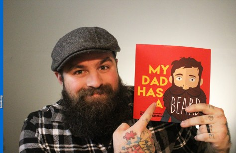 Author Kellen Roggenbuck with his book My Dad Has a Beard