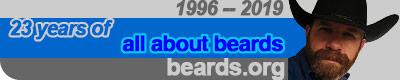 Image celebrating twenty-three years: all about beards, 1996 -- 2019.