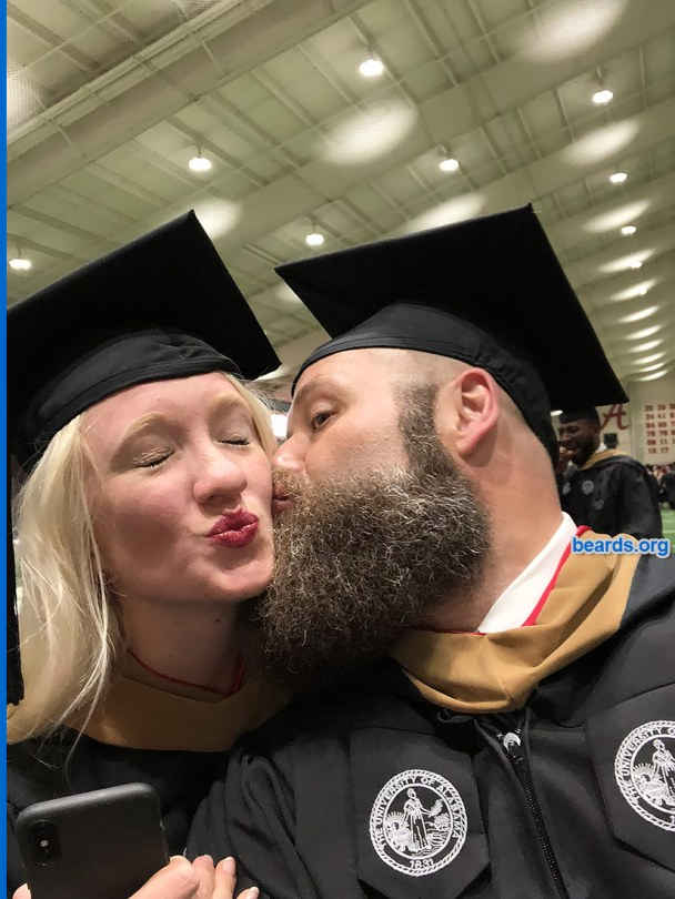 Chris' fierce beard as he celebrates his MBA graduation