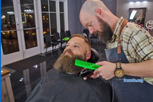 Chris' beard update photo 8: getting his beard trimmed