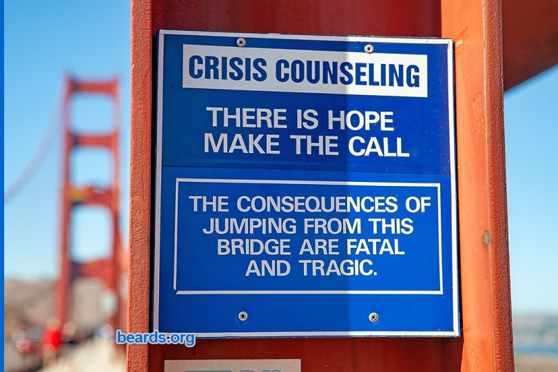 No-shave November men's suicide prevention: crisis counseling sign