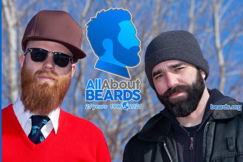 All About BEARDS twenty-fifth anniversary image featuring Mike and John