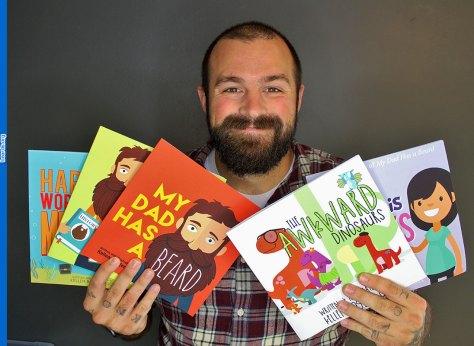 Kellen's big beard book success: Author Kellen Roggenbuck proudly shows off his books