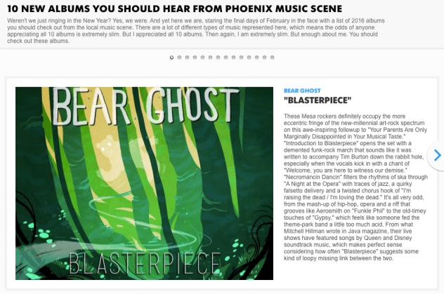 Bear Ghost album heralded by AZ Central