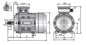 TECA IE2 Motor 11kW 4 Pole 3 Phase Foot Mounted 160M Frame TECA Three Phase Aluminium Electric