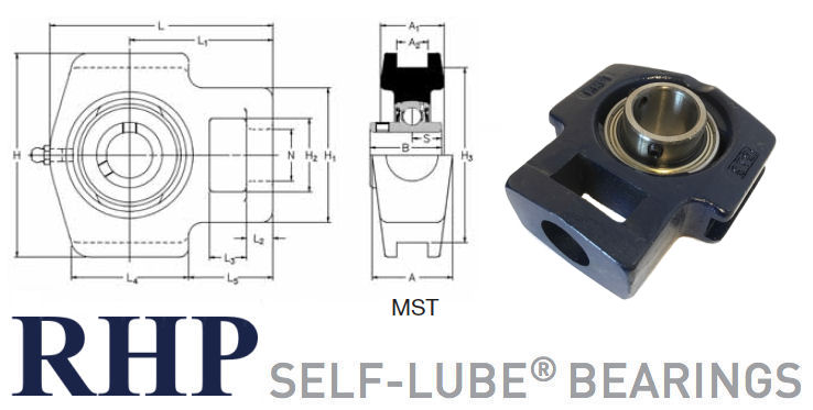 MST90 RHP Cast Iron Take-Up Bearing Unit 90mm Bore image 2