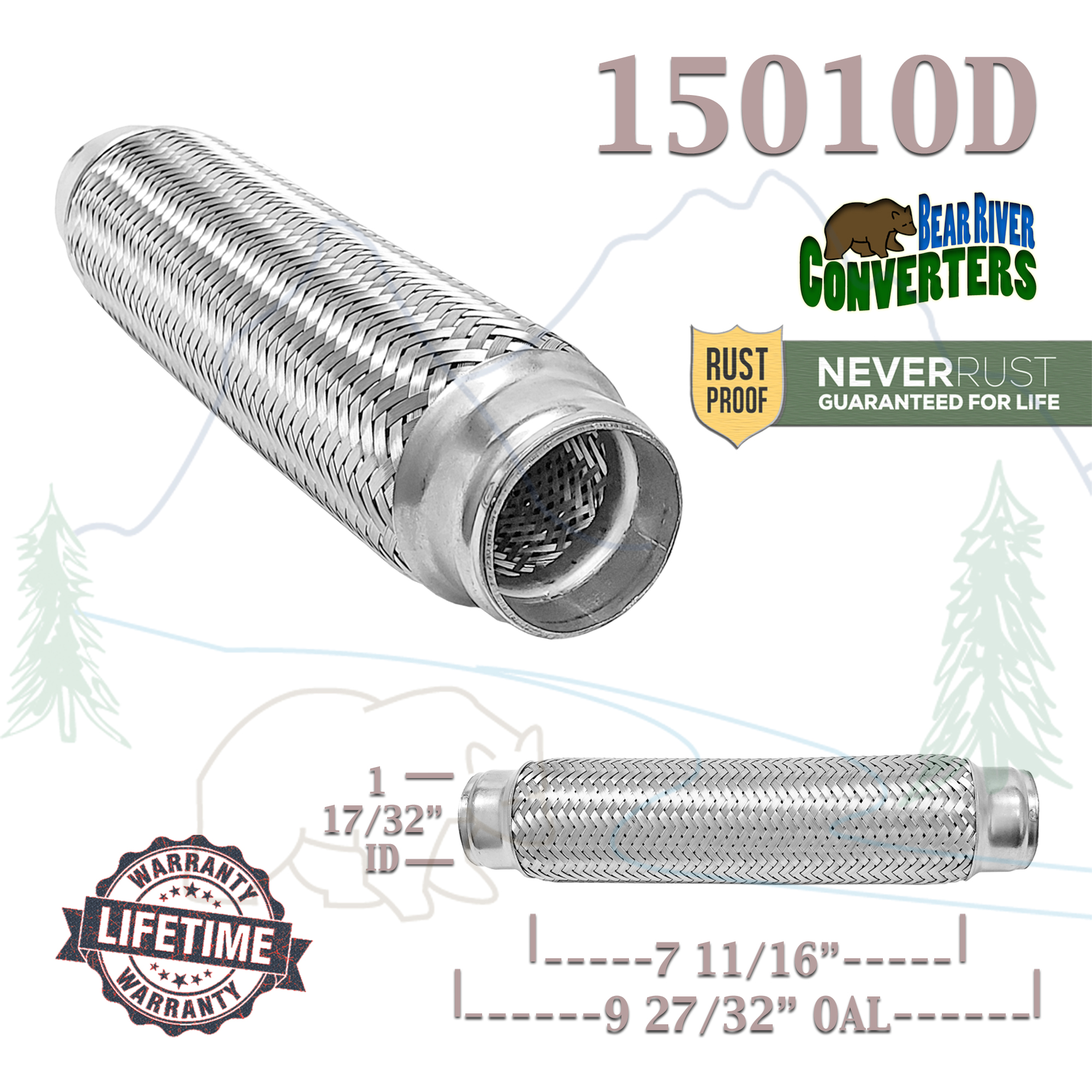 1 5 1 1 2 in x 10 flex pipe exhaust coupling quality stainless heavy duty