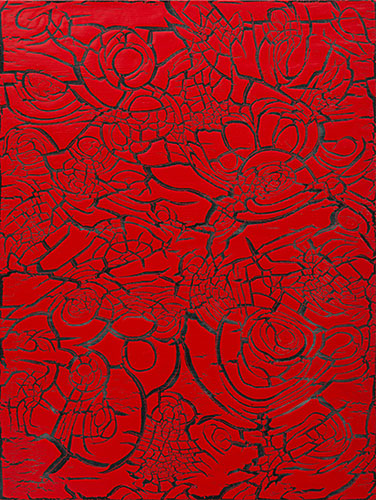 Ed Moses, Red over Black, 2012; mixed media on canvas; 48 × 36 inches