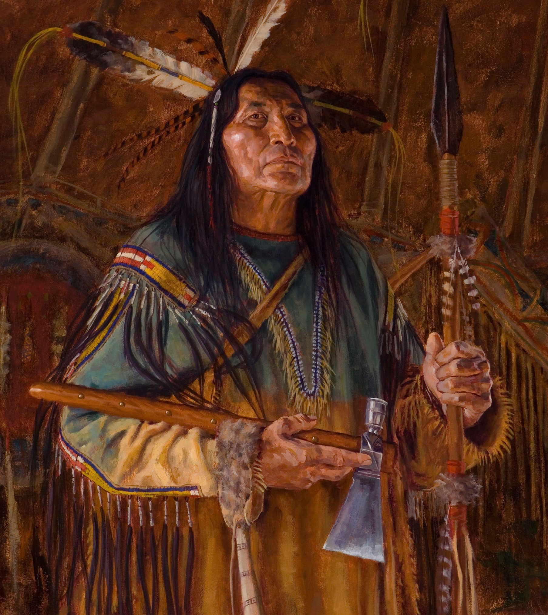 700N-ARTICLES OF THE CHEYENNE-CHEYENNE-OIL ON CANVAS-2016-32X28-9,700.00 Beartooth