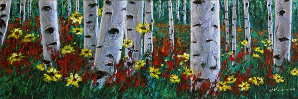 Aspens & Daisies by Jennifer Vranes