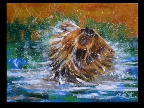 Bear Taking a Bath by Billie Stuff