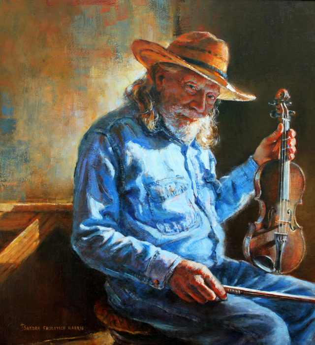 "A Twinkle in His Eye and a Song in His Heart  Sandra Harris Oil 18"" x 18"""