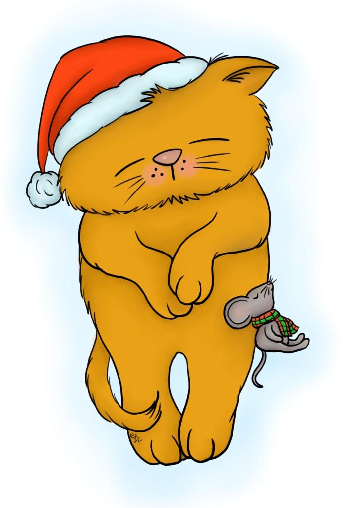 Kathie Zaban, Free Digital Images, Free Digis, Bearywishes, sleeping kitty, christmas kitty