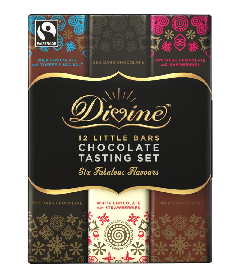 Fairtrade divine chocolate 12 bar tasting set