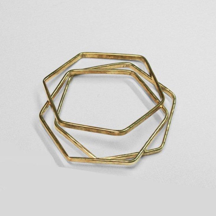 Natural Collection Made brass hexagon bangle set - Green Christmas gift guide
