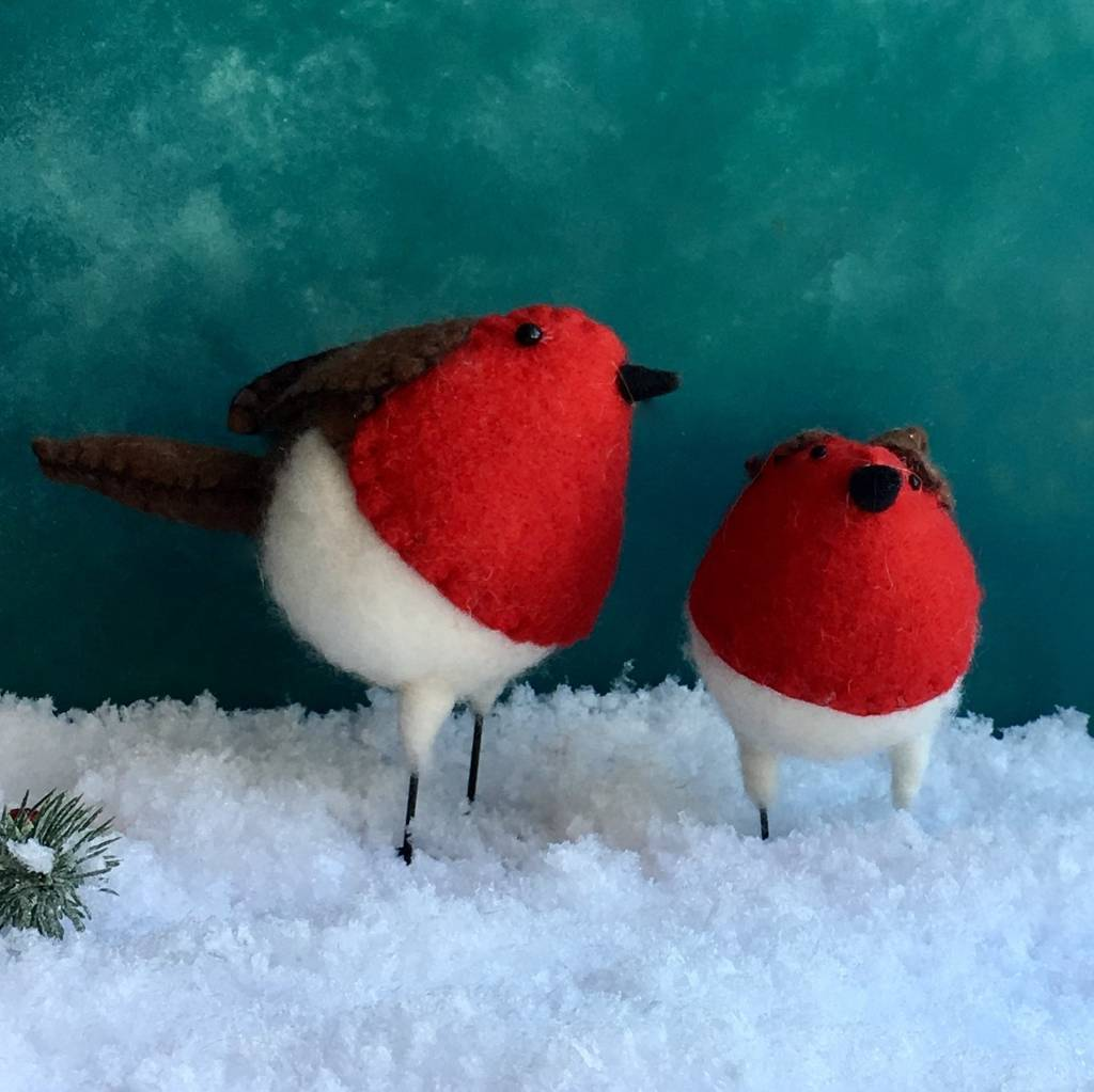 Eco-friendly wool robin Christmas decorations