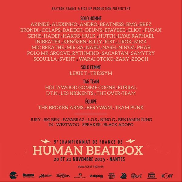 Sélectionnés au championnat de France de human beatbox 2015