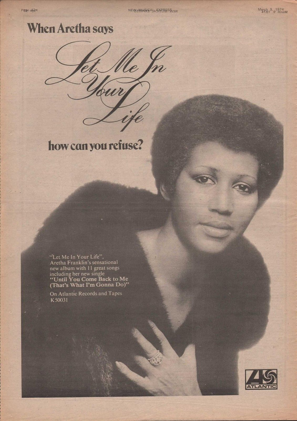 aretha franklin poster size let me in your life advert 1974 vintage clipping