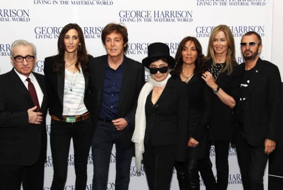Martin Scorsese, Nancy Shevell, Paul McCartney, Yoko Ono, Olivia Harrison, Barbara Bach and Ringo Starr at the premiere of George Harrison: Living In The Material World, 2 October 2011