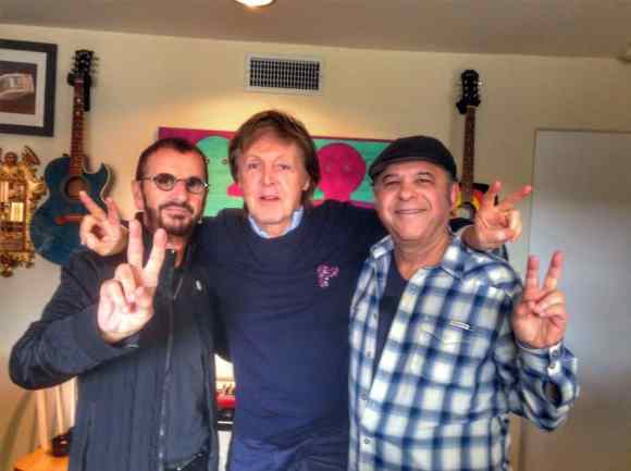 Ringo Starr, Paul McCartney and producer Bruce Sugar, 20 February 2017
