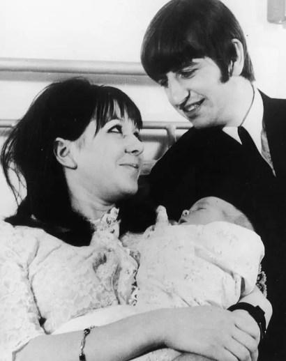 Ringo and Maureen with baby Zak Starkey