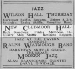 Ticket for The Quarrymen at Wilson Hall, Liverpool, 18 October 1957