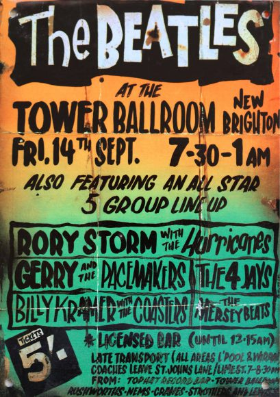 Poster for The Beatles at Tower Ballroom, New Brighton, 14 September 1962