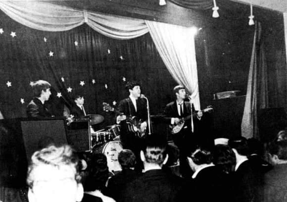 The Beatles onstage at Invicta Ballroom, Chatham, 12 January 1963