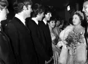 The Beatles meet the Queen Mother at the Royal Command Performance, 4 November 1963