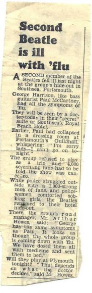 Newspaper report on Paul McCartney and George Harrison's flu, 12 November 1963