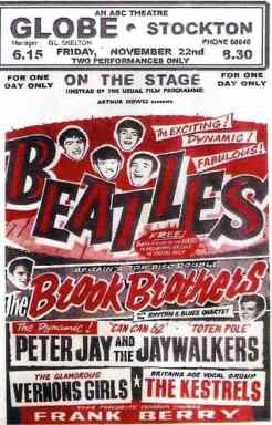 Poster for The Beatles at the Globe Cinema, Stockton-on-Tees, 22 November 1963