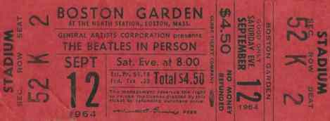 Ticket for The Beatles at the Boston Garden, Boston, 12 September 1964