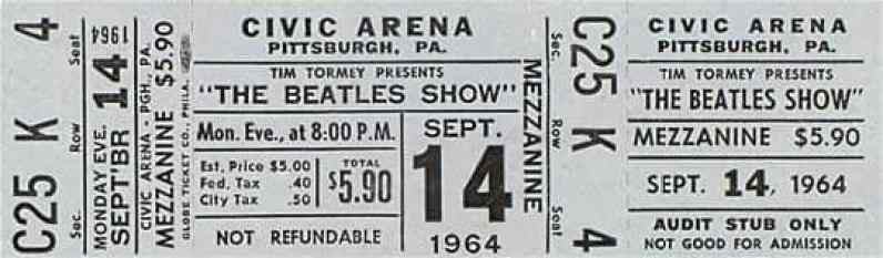 Ticket for The Beatles at the Civic Arena, Pittsburgh, 14 September 1964