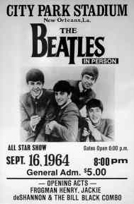 Poster for The Beatles in New Orleans, 16 September 1964