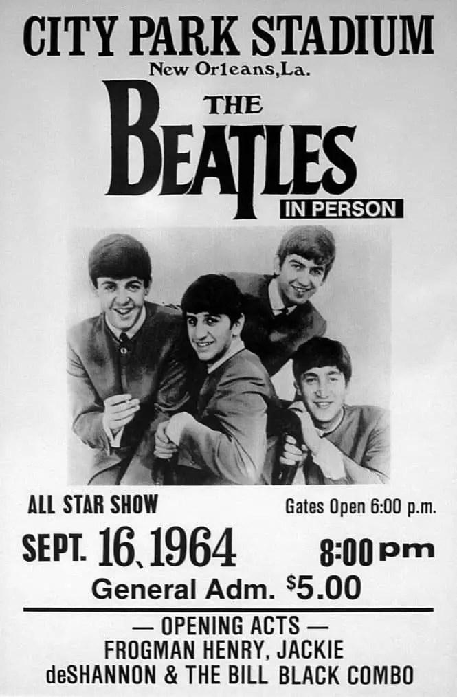 Poster for The Beatles in New Orleans, 16 September 1964