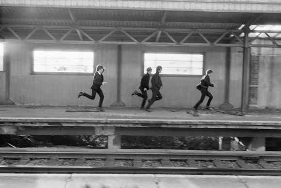 The Beatles during the filming of A Hard Day's Night, 1964