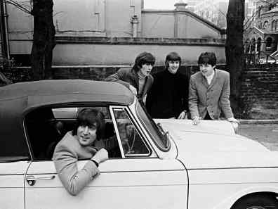 The Beatles on the day John Lennon passed his driving test, 15 February 1965