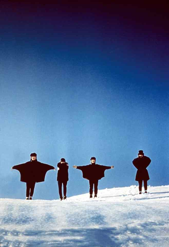 The Beatles filming Help! in Austria, March 1965